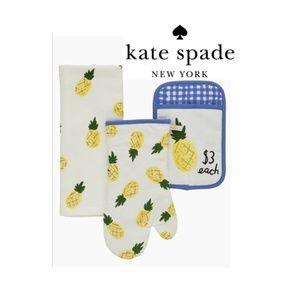 🆕 Kate Spade Pineapple 3 Piece Kitchen Linens Set